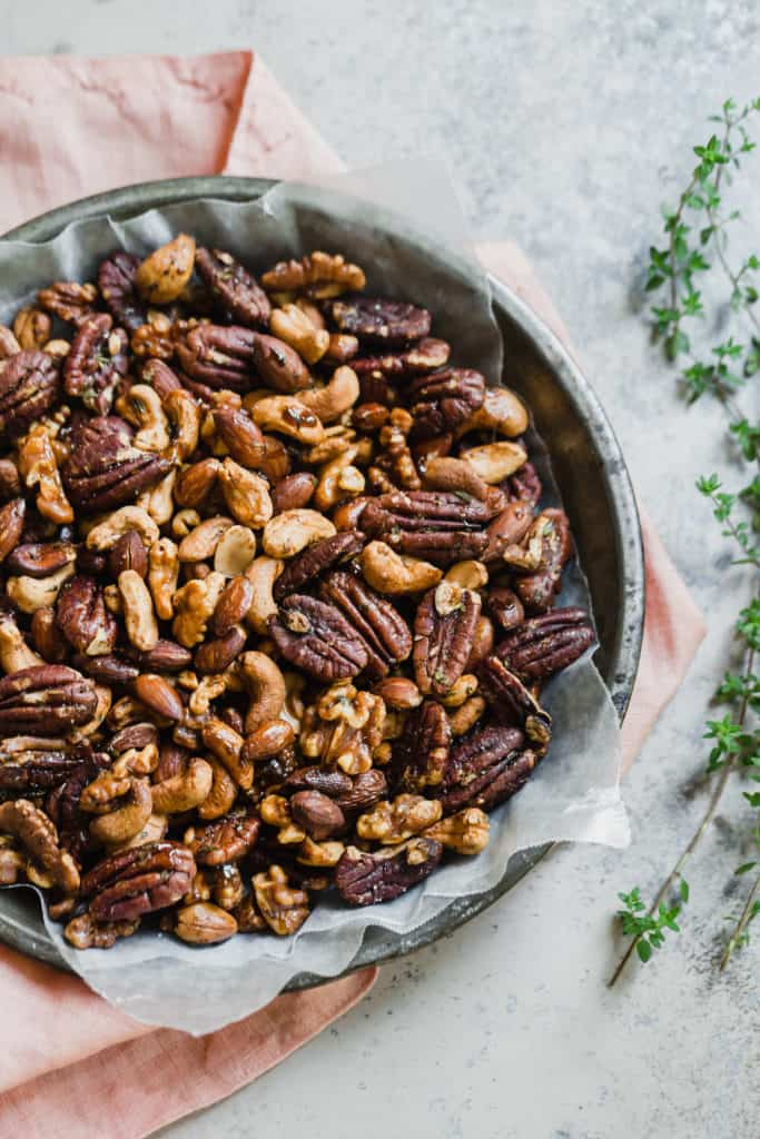 spiced cocktail nuts with cayenne and maple syrup