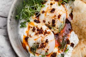 Turkish Eggs with Herbed Yogurt (Cilbir)