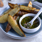 oven-roasted potato wedges with healthy chimichurri