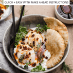 turkish eggs with creamy herbed yogurt in bowl