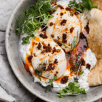 turkish eggs with creamy herbed yogurt and pita