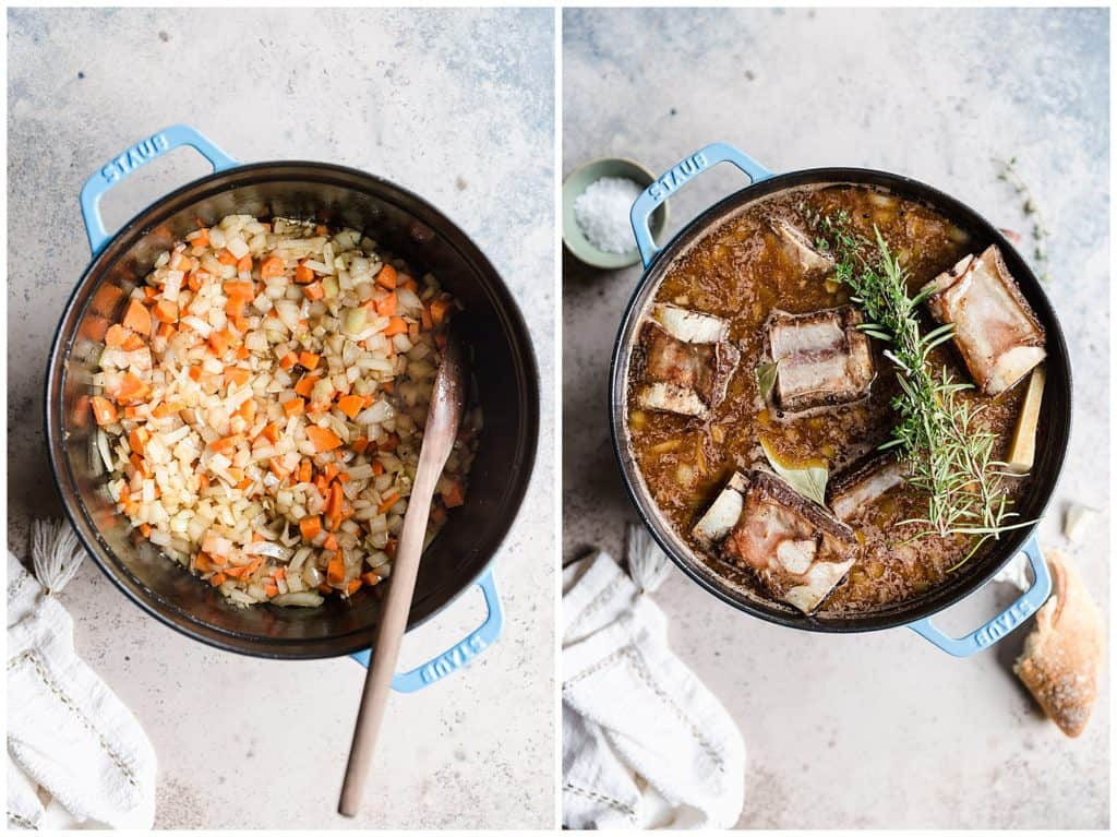 bone in beed short ribs in a dutch oven with broth, wine, and herbs!