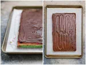 assembled rainbow cookies with chocolate on top