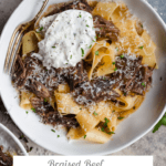 big bowl of pappardelle with braised beef short ribs