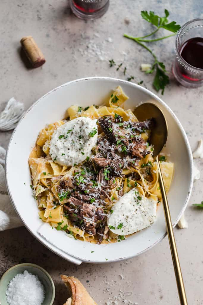 braised beef pappardelle with burrata