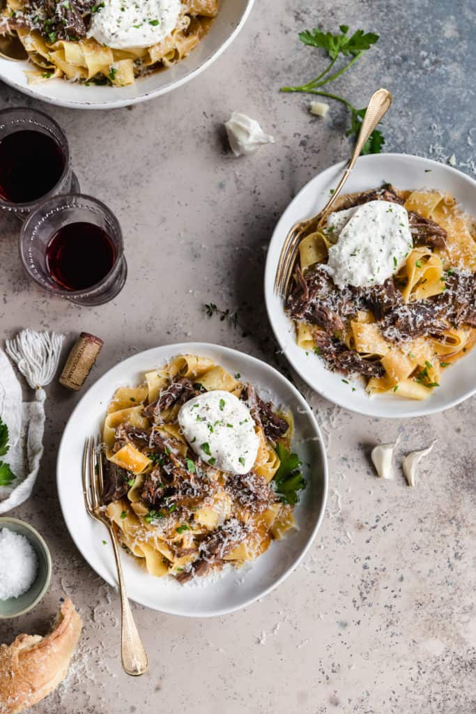 two bowls of braised short rib pappardelle