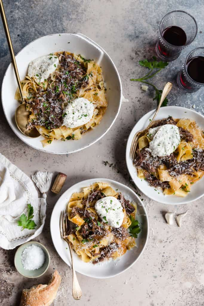 slow braised beef short ribs with pappardelle and burrata in vietri bowls