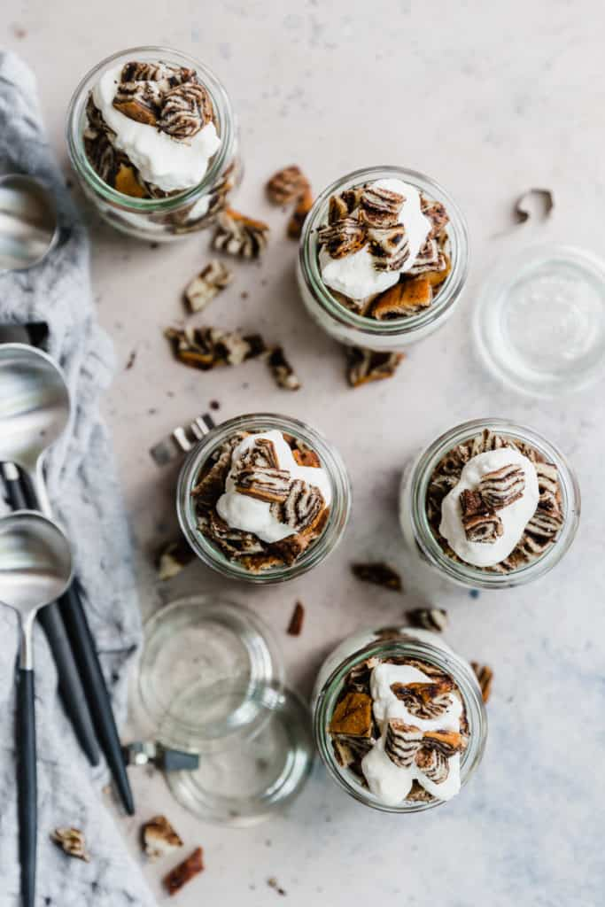 chocolate babka parfaits in small glass jars