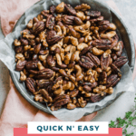 spice roasted almonds, pecans, walnuts, and cashews on a plate