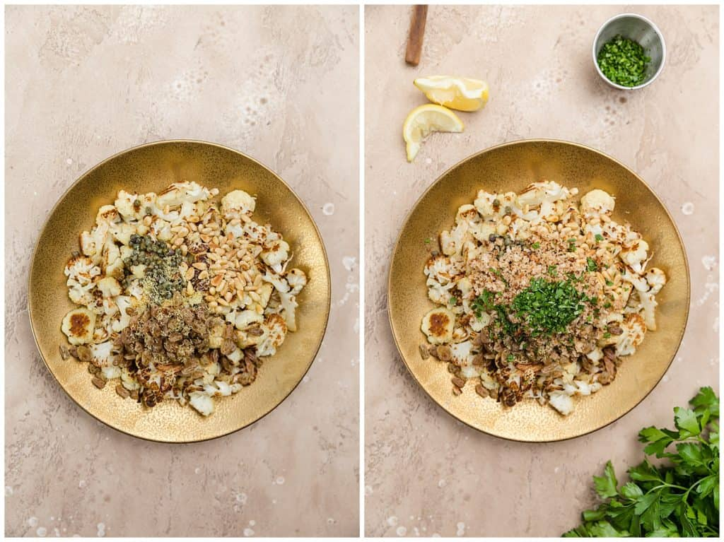 roasted cauliflower in a bowl with breadcrumbs, parsley, raisins, and pine nuts