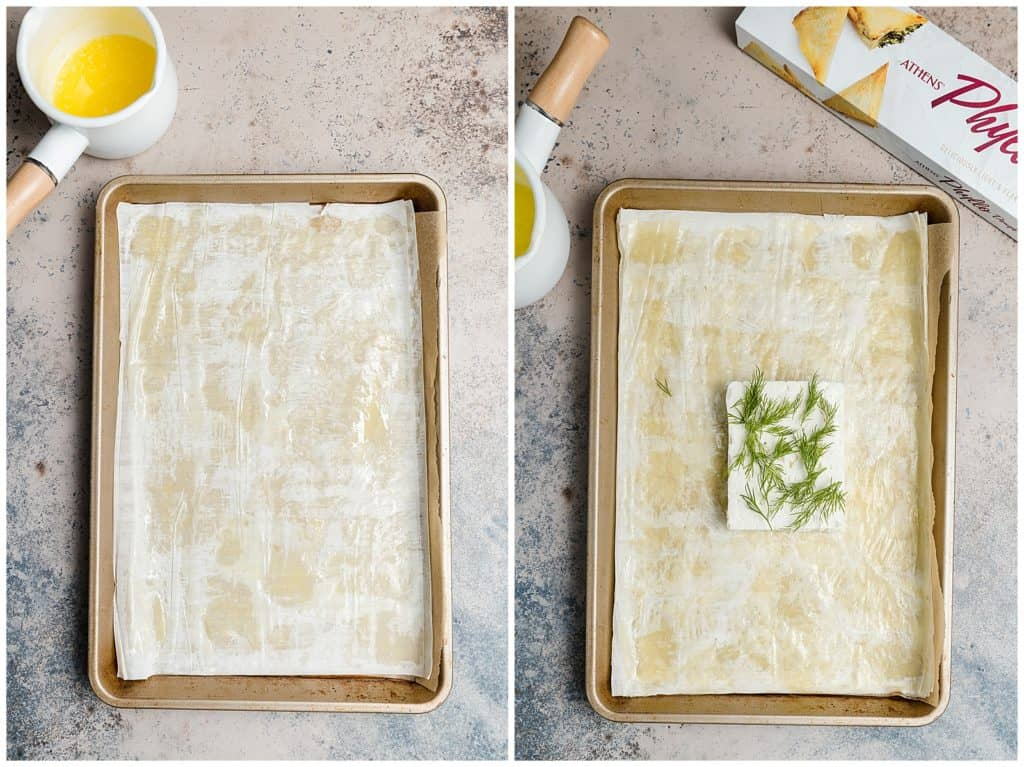 phyllo sheets with butter on a baking sheet and a square of feta with fresh dill