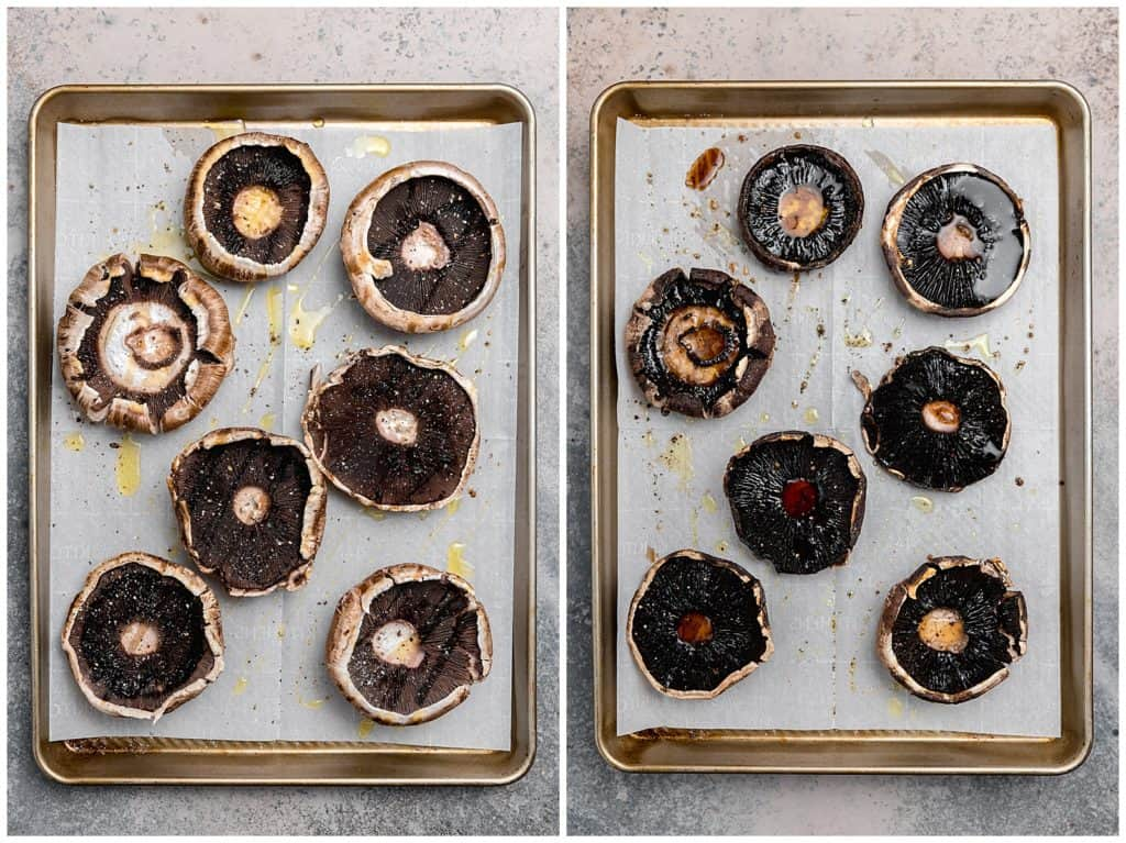 roasted portobello mushrooms on a baking sheet