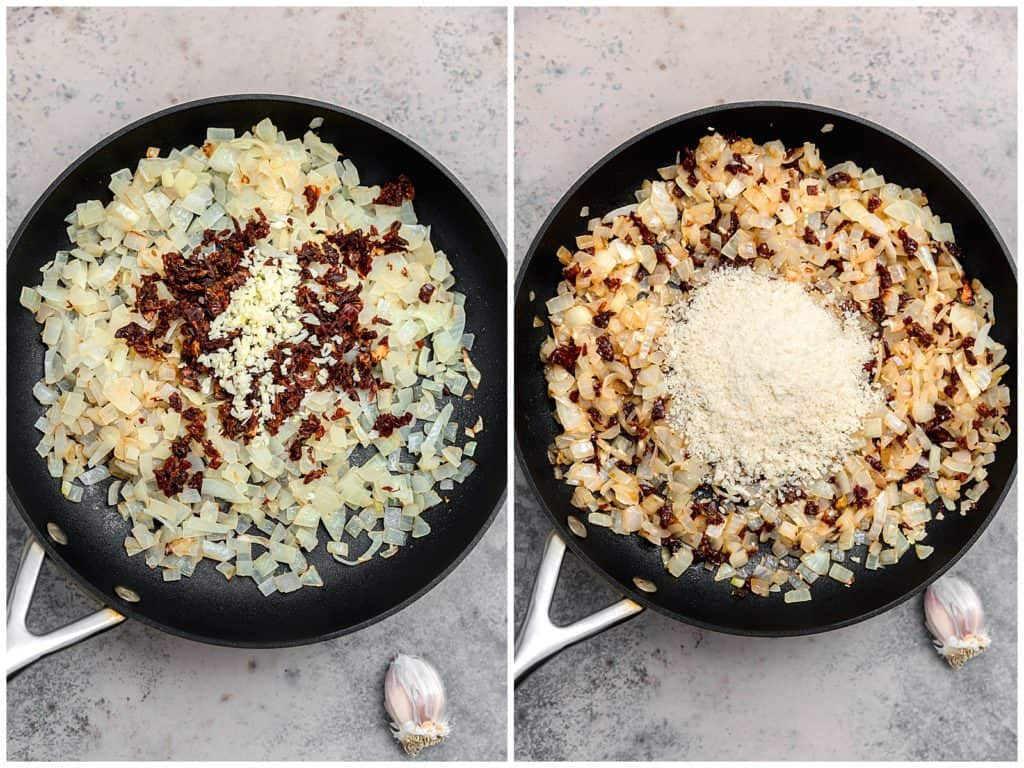 onion and panko breadcrumb filling in a skillet for mushrooms