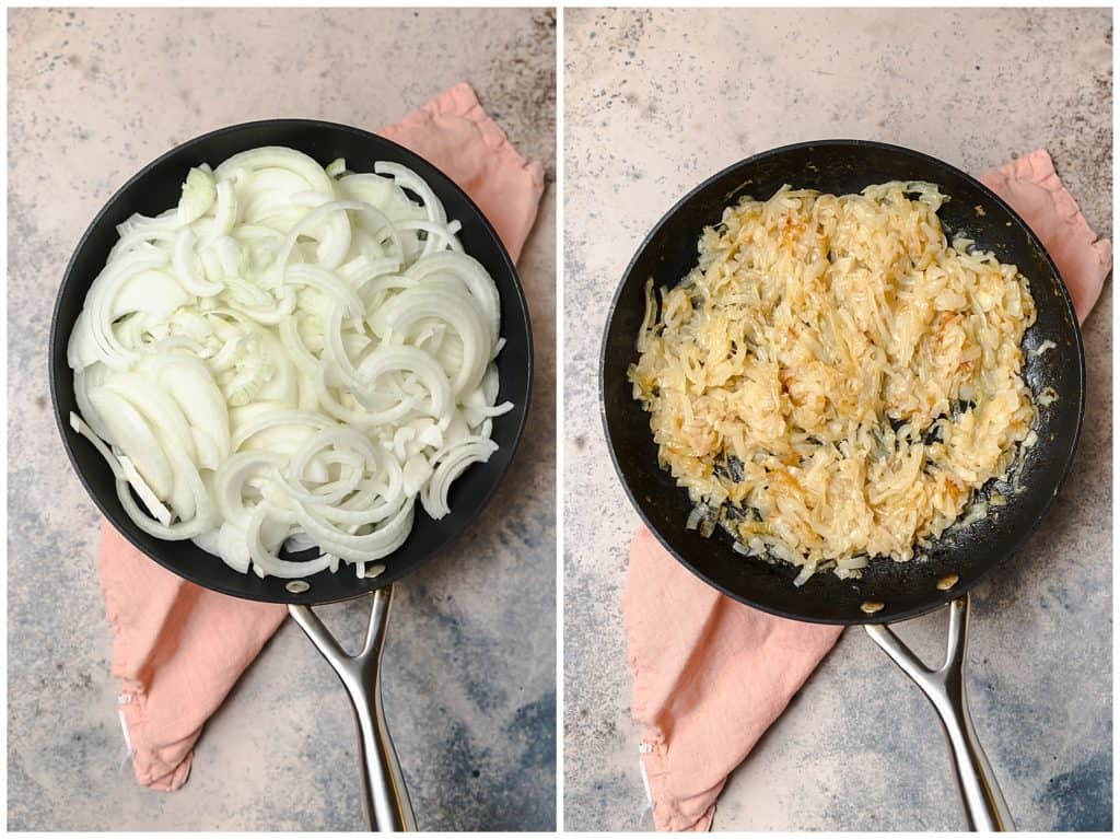 caramelizing onions in a pan