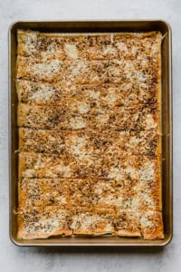 everything phyllo crackers on a baking sheet