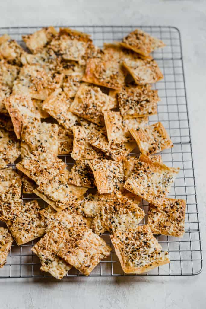 sheets of phyllo baked into crackers with everything seasoning