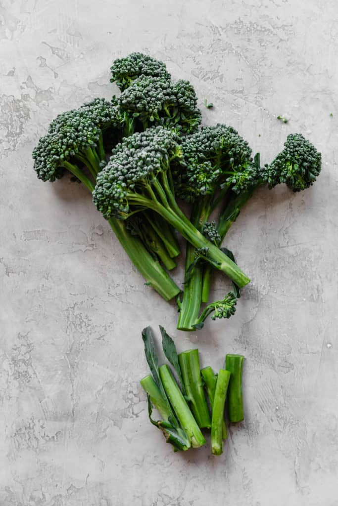 raw broccolini with stems removed