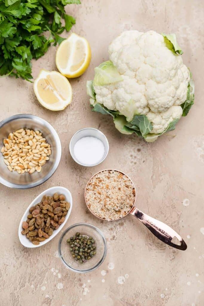 ingredients for sicilian cauliflower
