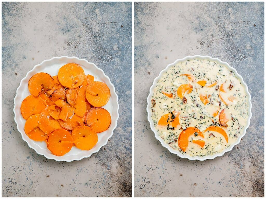 spiralized butternut squash quiche in a tart pan before and after quiche custard has been poured on top