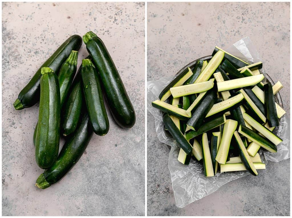 6 small zucchini cut into wedges for fries
