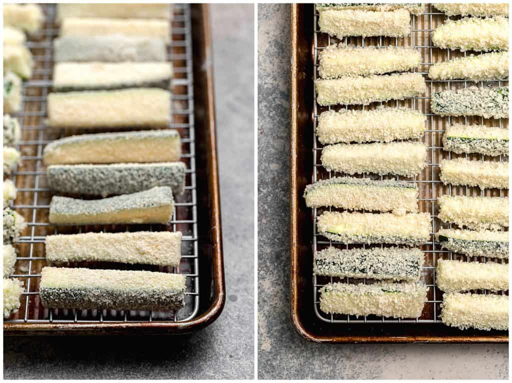 close up of breaded zucchini fries, one tray with breadrumbs and the other with panko