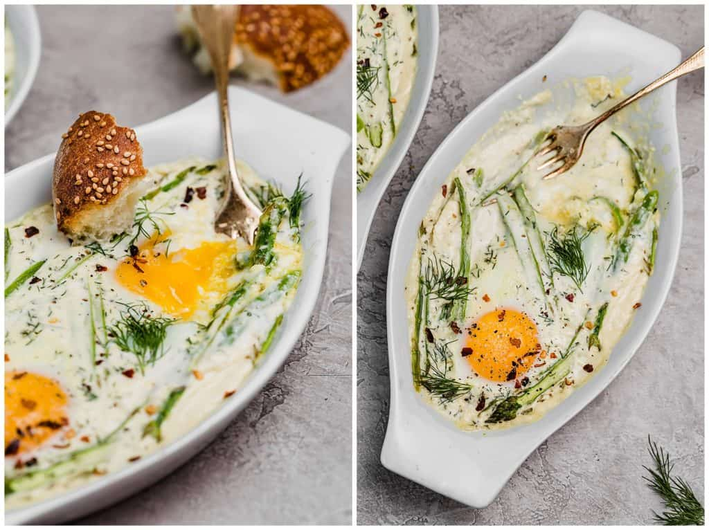 creamy baked eggs with asparagus, dill, and red pepper flakes