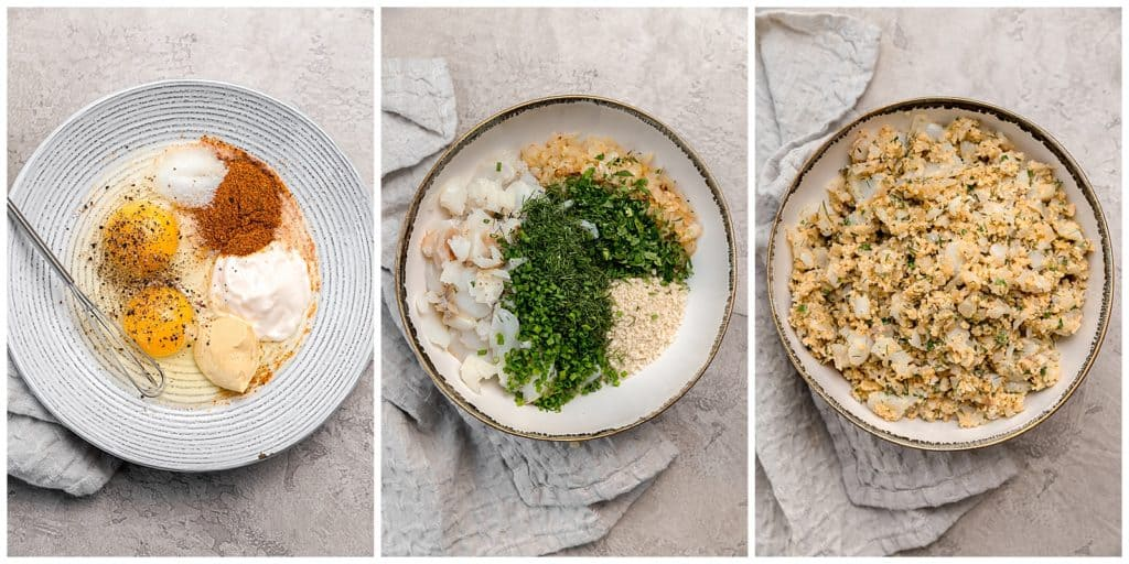 step-by-step photos to mix together cod cakes