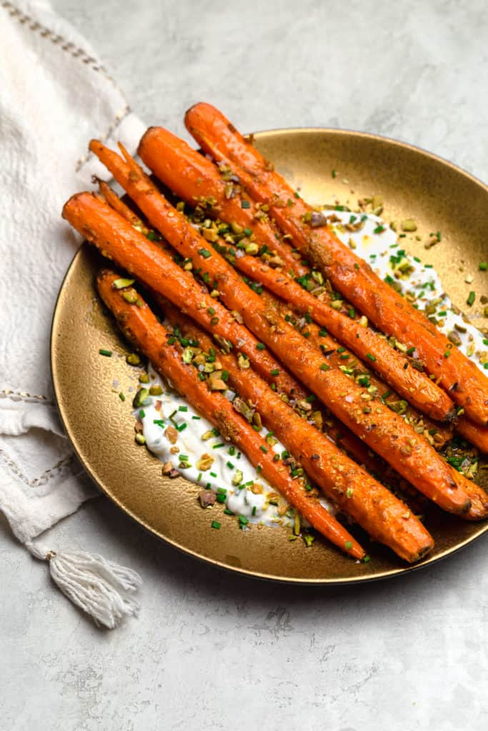 tandoori roasted carrots with yogurt and pistachios