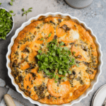 butternut squash quiche in a quiche pan