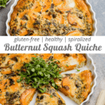 butternut squash quiche with arugula