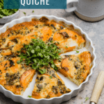 sliced butternut squash quiche