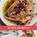 salmon escabeche on a platter with olives and shallots