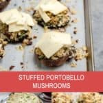 stuffed portobello mushrooms on a white plate with melted cheese