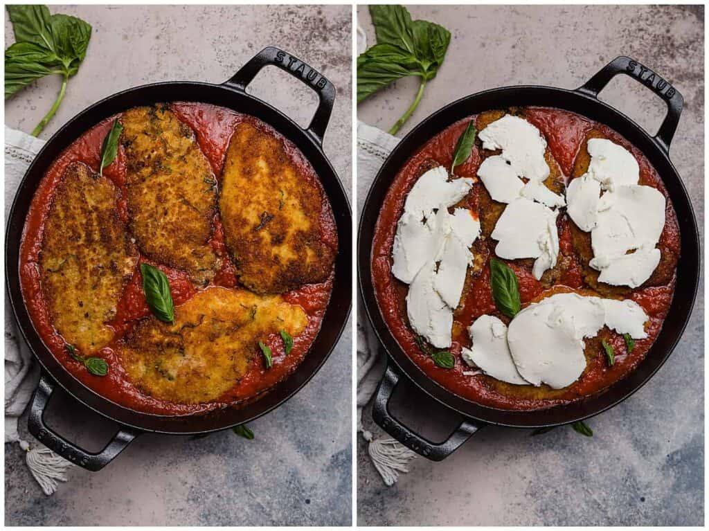 chicken parmesan in a skillet with marinara and fresh mozzarella