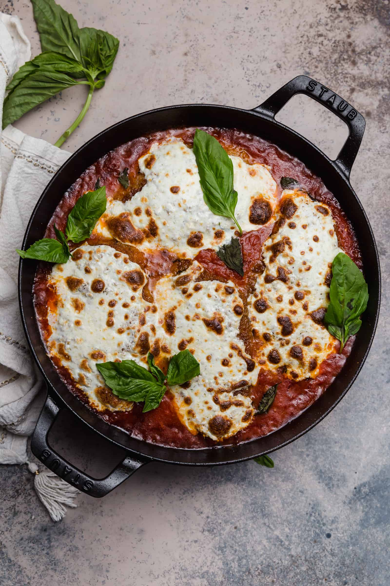 easy chicken parmesan with fresh mozzarella and basil