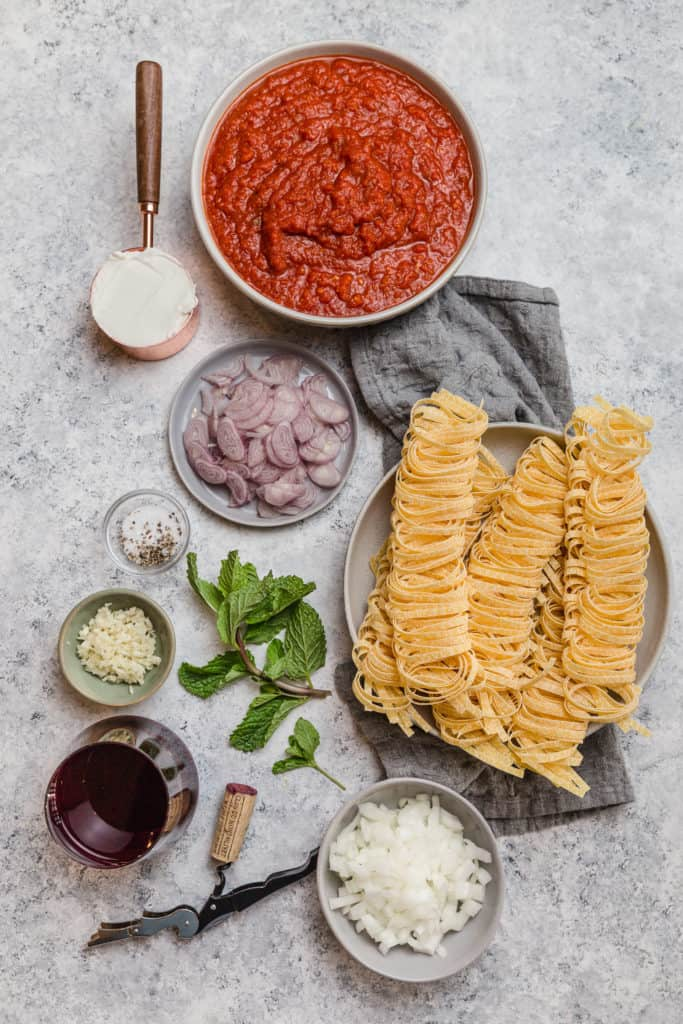 ingredients for lamb and mint ragu