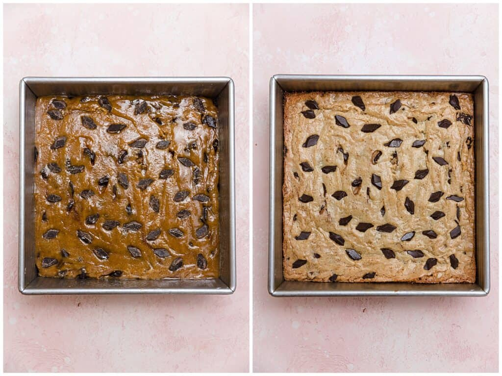 pre-baked and baked browned butter blondies with chocolate