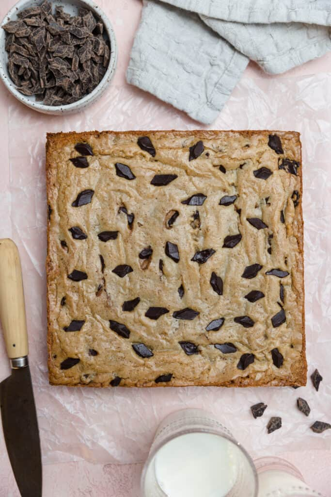 8x8 baked browned butter blondies with chocolate chunks