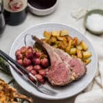 roast rack of lamb with roasted grapes and potatoes