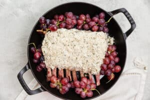 panko and goat cheese crusted rack of lamb with roasted grapes