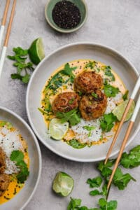 Thai turkey meatballs with lime, basil, and coconut curry
