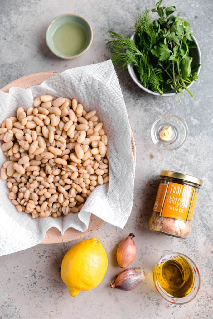 ingredients for marinated white bean salad