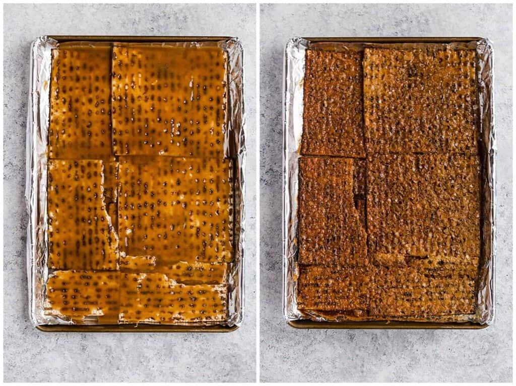 making matzo crack on a baking sheet