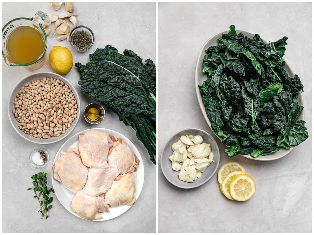 ingredients for chicken with white beans and kale