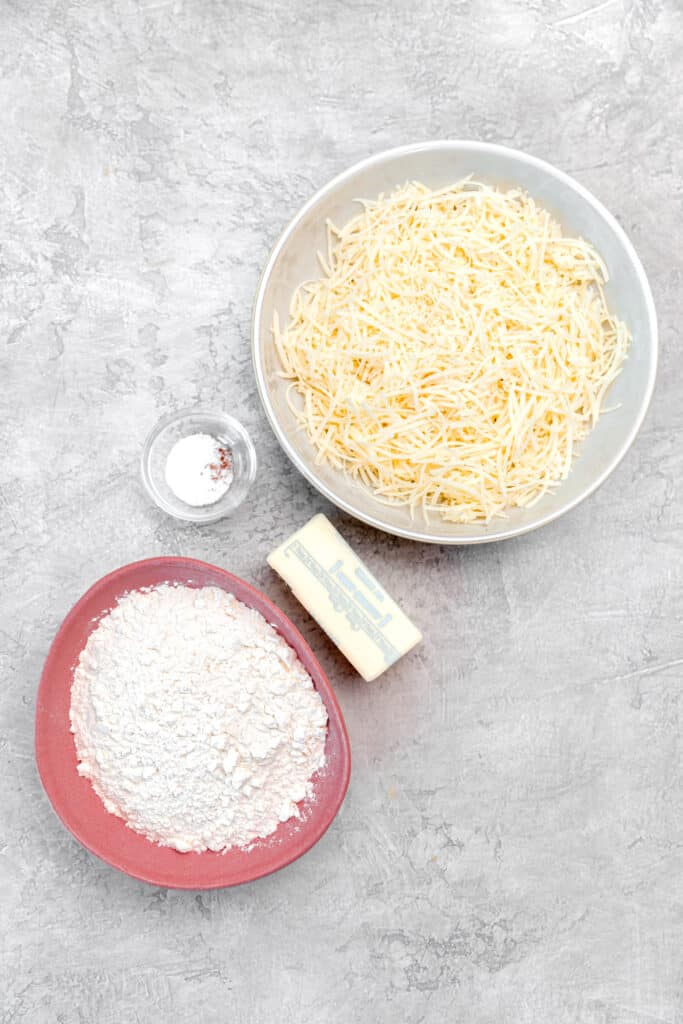 cheese, flour, butter, and salt for crackers