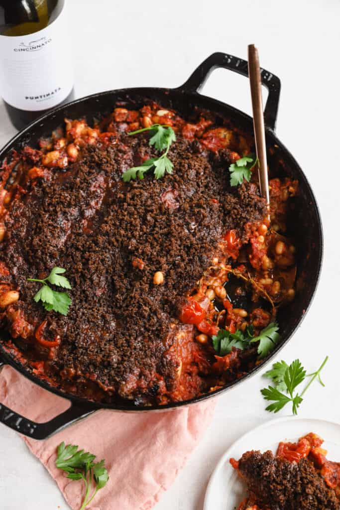 homemade cassoulet with chorizo in a skillet