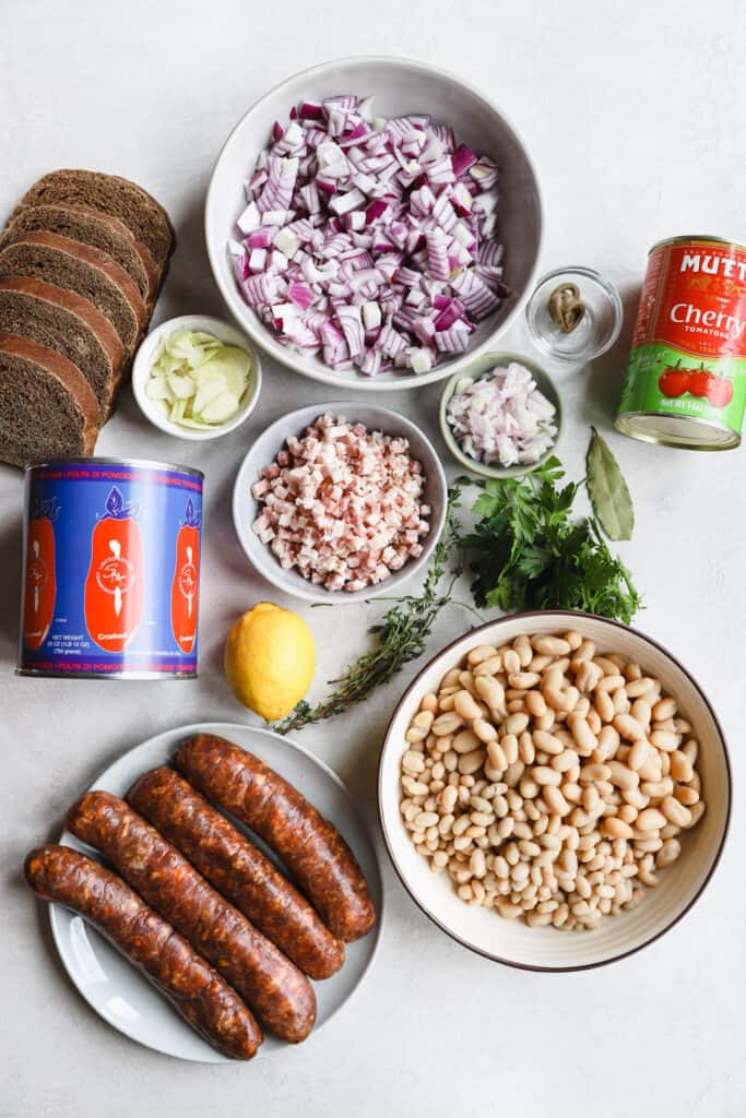 ingredients for easy cassoulet with chorizo and white beans