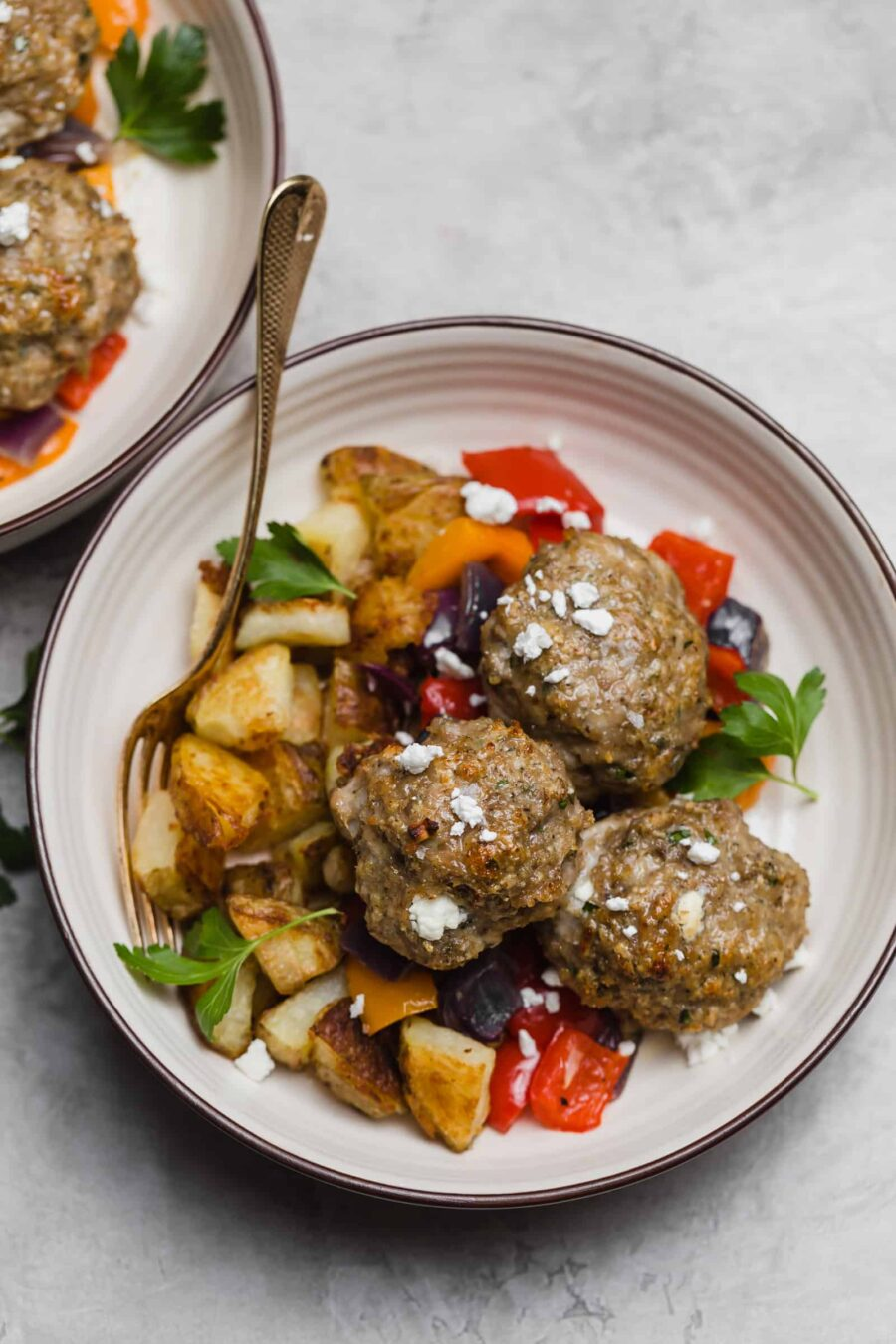 Sheet Pan Chicken Meatballs with Goat Cheese