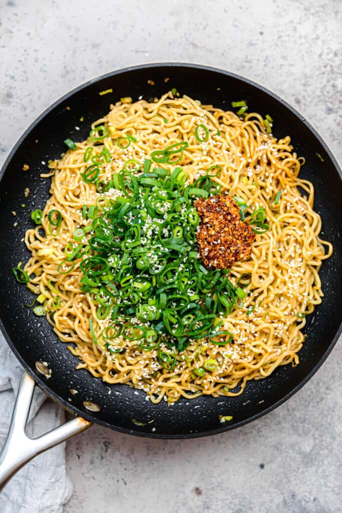 stir fried ramen noodles with scallions and chili onion crunch
