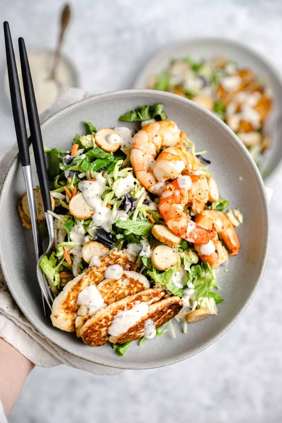 Everything Chopped Salad with Roasted Shrimp and Halloumi